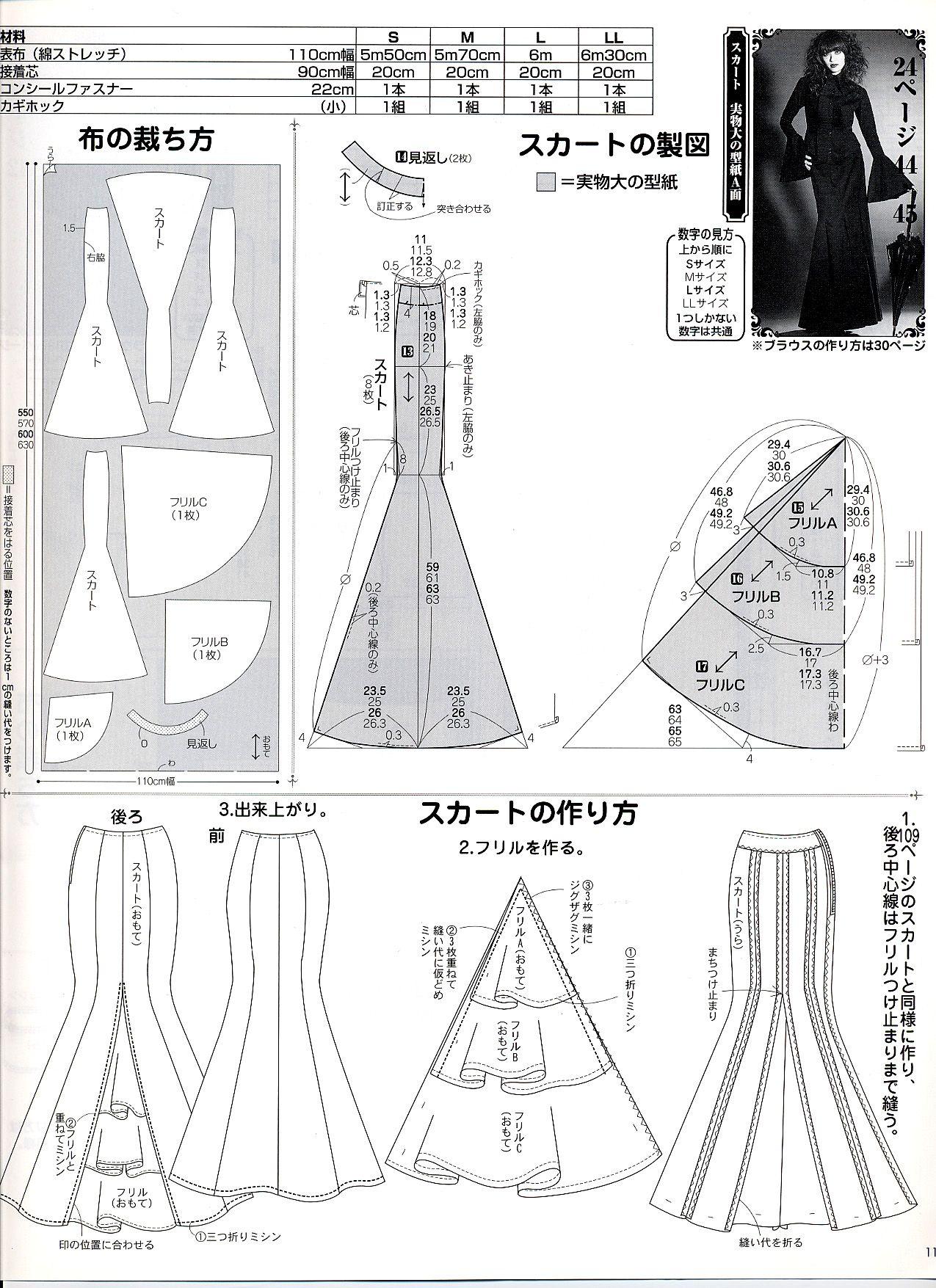 Mermaid Skirt Pattern : mermaid, skirt, pattern, Mermaid, Pattern, (Japanese), Dress, Pattern,, Skirt