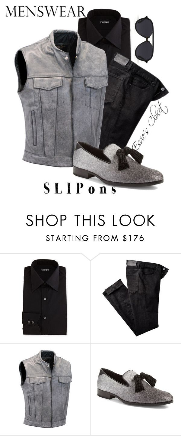 """""""Grey, Christian"""" by essiescloset ❤ liked on Polyvore featuring Tom Ford, Paige Denim, Jimmy Choo, Bally, men's fashion, menswear and slipons"""