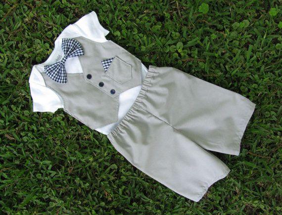 Baby Boy Custom Tuxedo set Light Gray and Navy by DisarrayDesigns