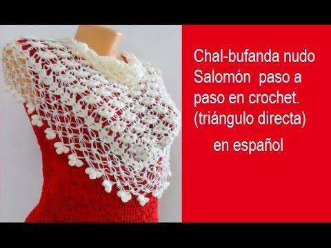Chal bufanda nudo Salomón paso a paso en crochet triángulo directa ...