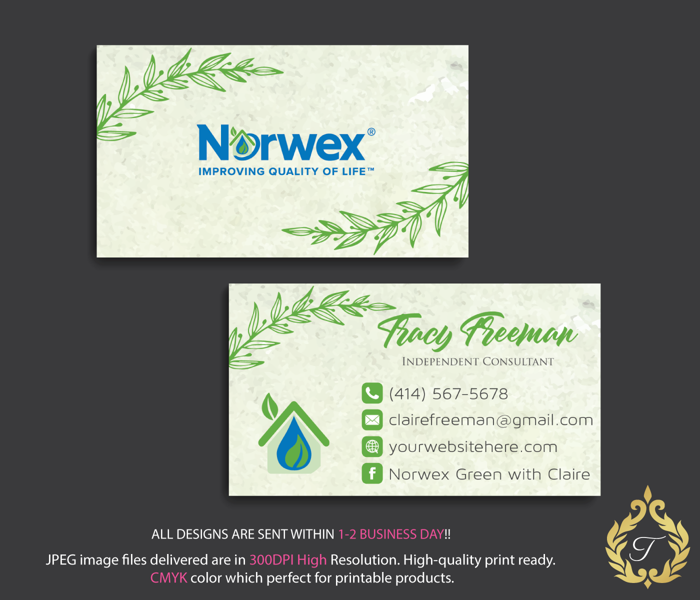 Custom Business Card Norwex Green Cleaning Business Cards Floral Norwex Business Card Personalized Business Card Nr06 Cleaning Business Cards Personal Business Cards Printing Business Cards