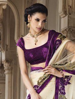 Ivory & Purple Sari