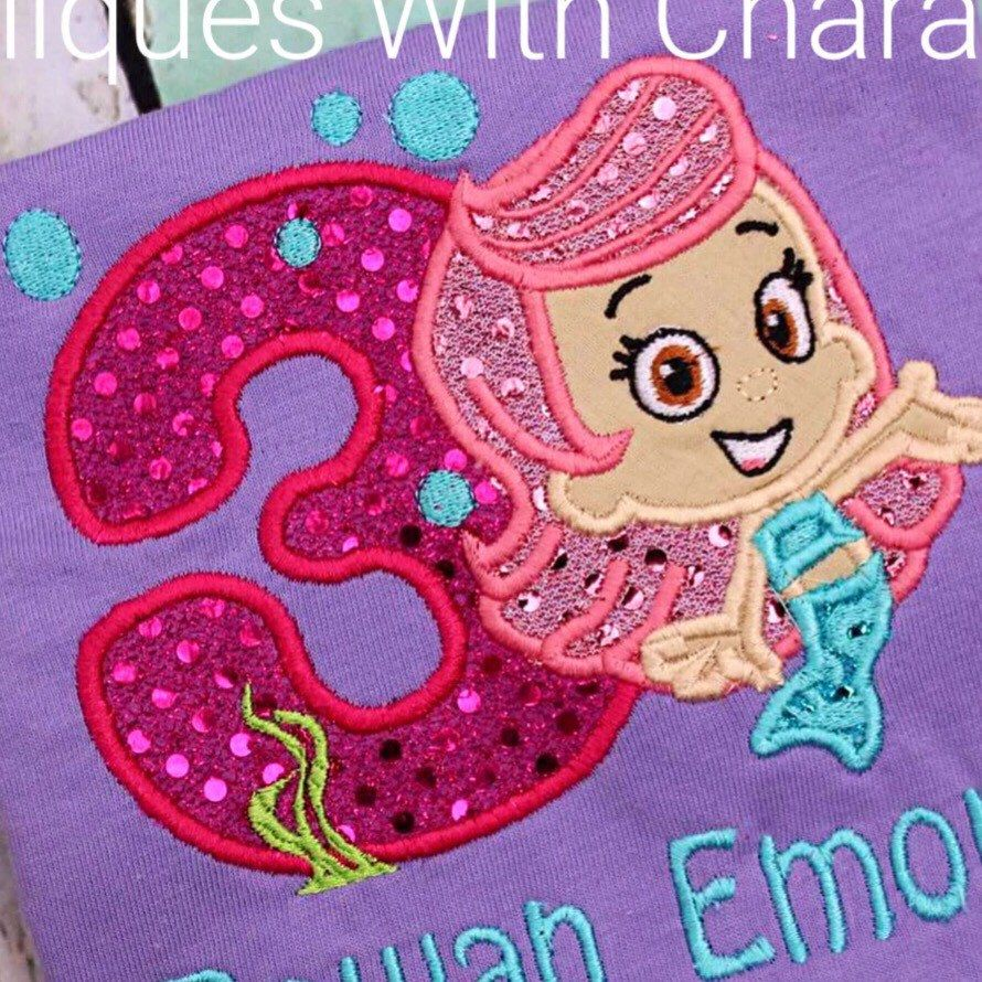 molly bubble mermaid three appliqué design stitches beautifully