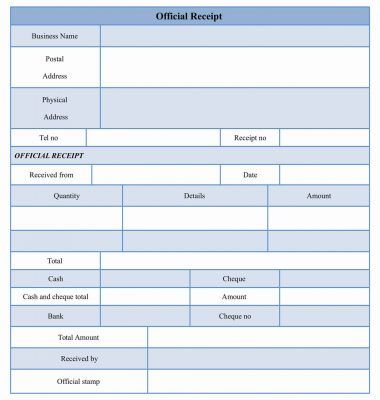 An official receipt form template is used to produce the details - cash receipt format word