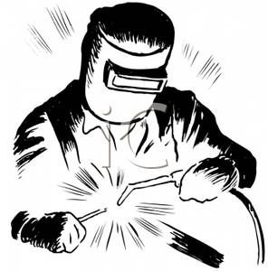 A Black and White Retro Style Cartoon of a Man Welding
