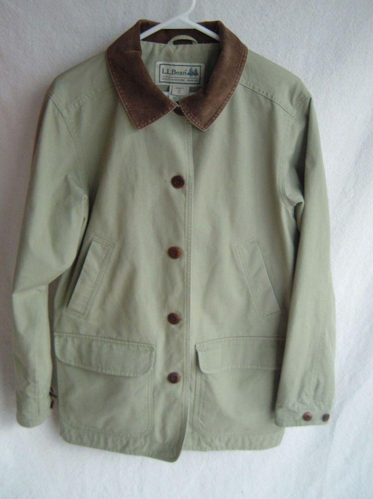 Ll Bean Lined Barn Coat Jacket Sage Green Canvas Corduroy