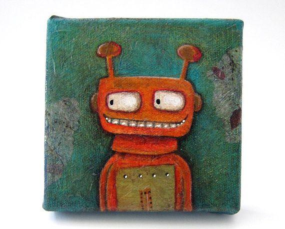 Reggie the watchful robot  small original robot by yoborobo, $30.00