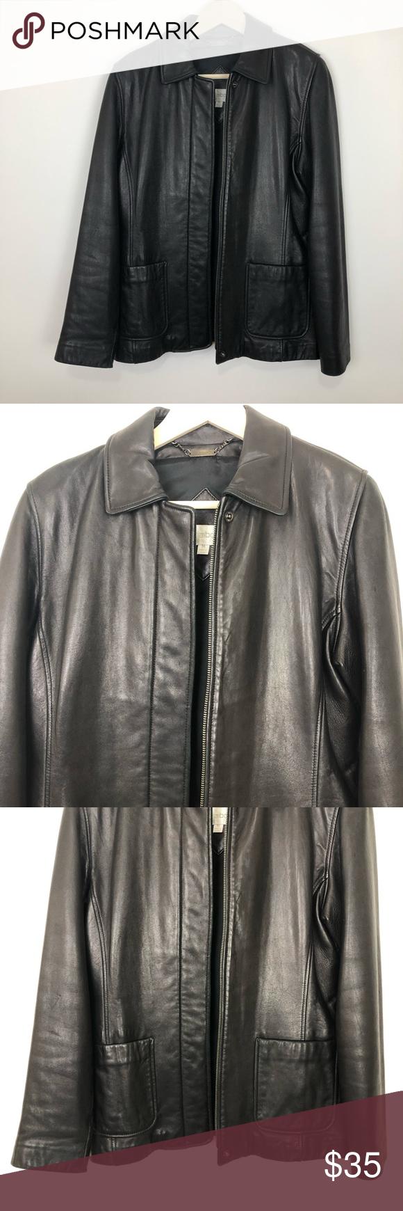 Liz Claiborne Black Leather Jacket Medium Leather Jacket Black Leather Jacket Liz Claiborne