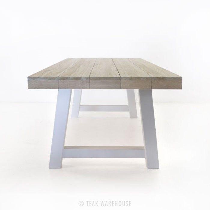 Teak Trestle Table With White Legs