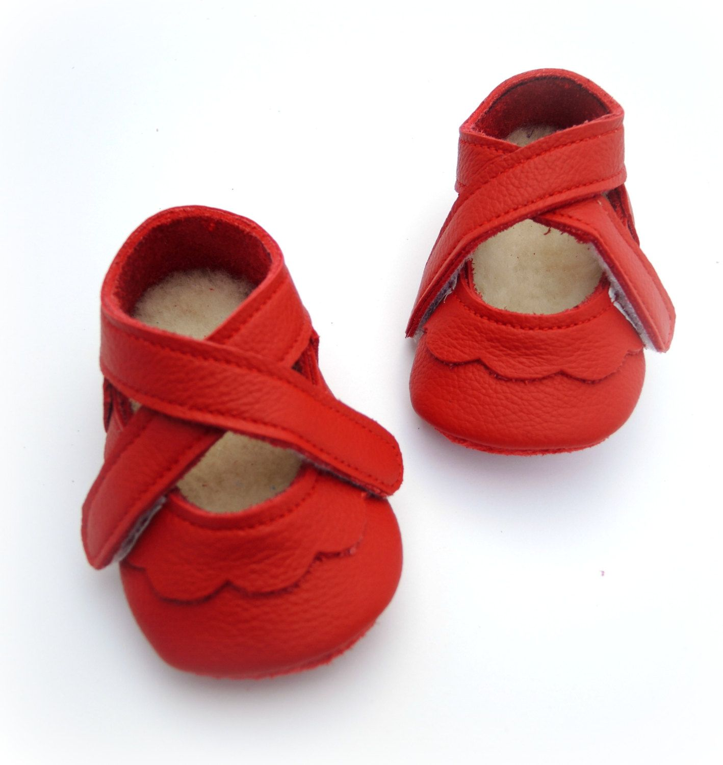 Handmade leather shoes for babies toddlers and children Red