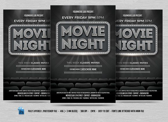 Movie Night Flyer Creativework  Templates  Templates