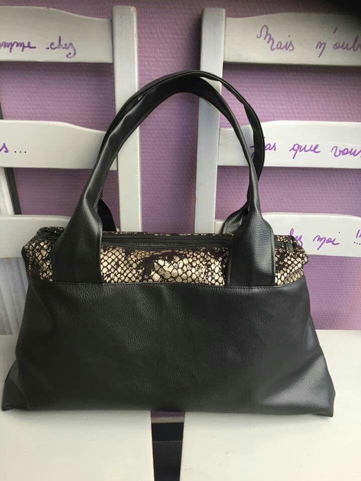 Le sac City Zip-Zip cousu par Sophie en simili et paillettes dorées - Patron de couture Sacôtin