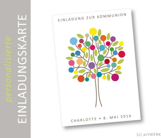 """Einladung Konfirmation Kommunion """"Lebensbaum"""""""