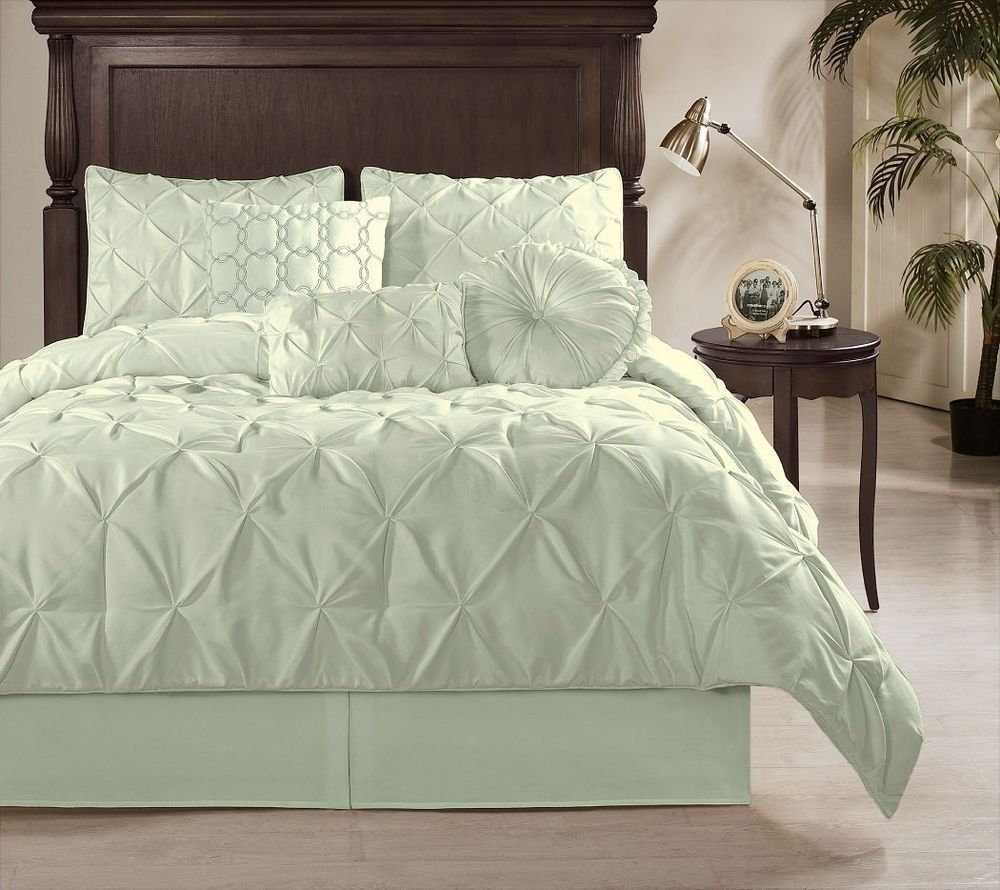 sydney 7pcs textured puckered pleat pintuck duvet cover set king mint green in home u0026 california