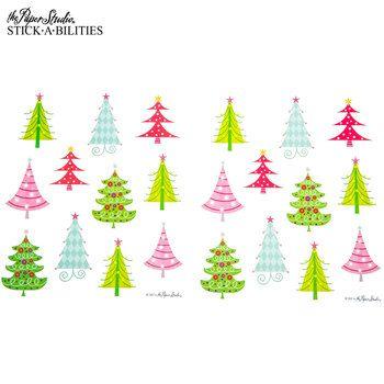 Retro Christmas Tree Stickers Scrapbooking Pinterest Retro
