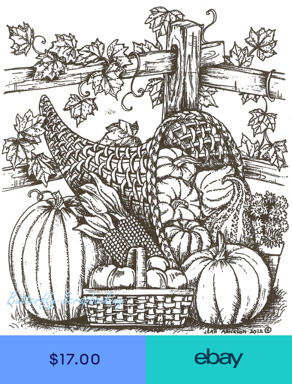 Thanksgiving Cornucopia And Fence Wood Mounted Rubber Stamp Northwoods P8703 New Coloring Pages Fall Coloring Pages Coloring Books