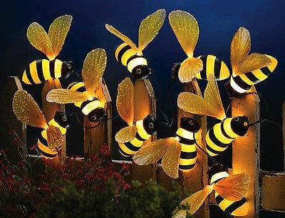 Fiber Optic Bumblebee Bees String Lights Patio Deck Garden Outdoor Yard Decor