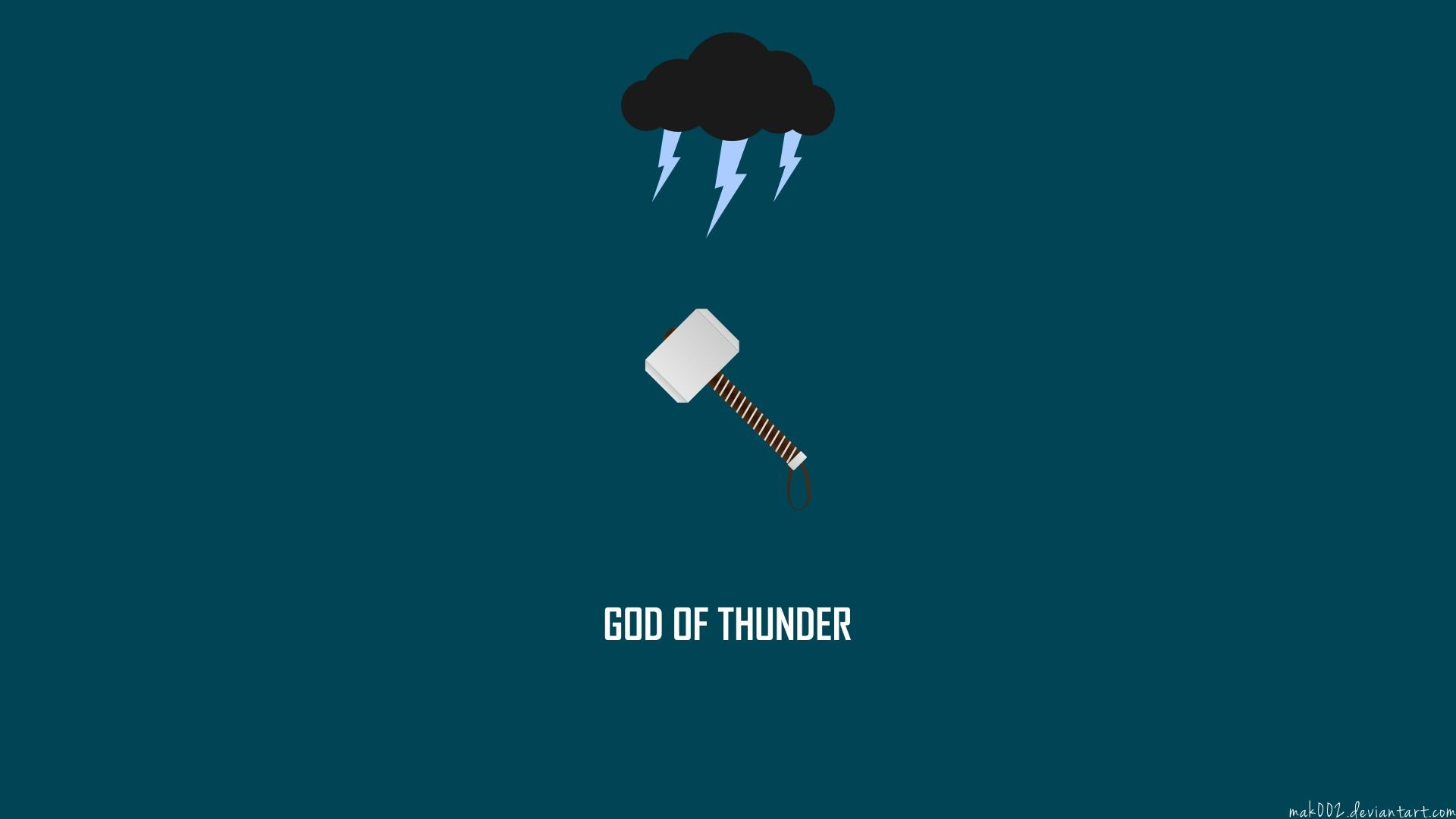 1920x1080 Thor Hammer Mjolnir Marvel Minimal Cloud Lightning Hd