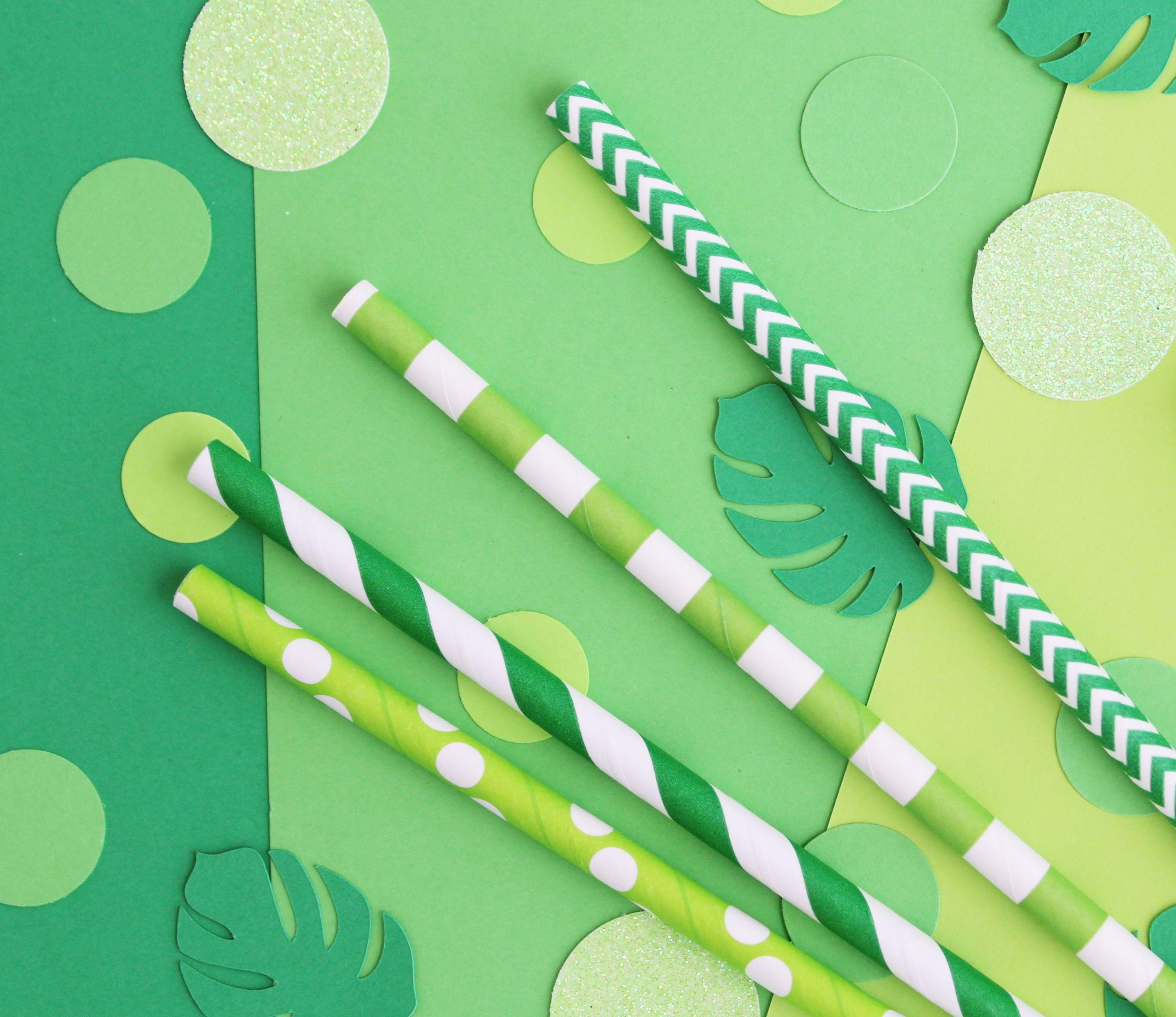 Paper Straws Green Glitter Confetti