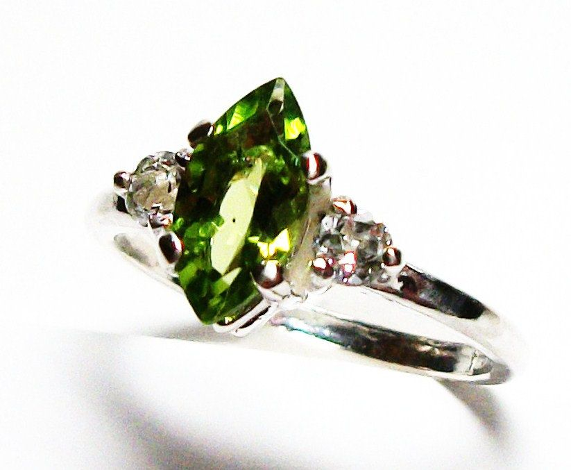 "Peridot, peridot ring, 3 stone ring, anniversary ring, green white, s 6 1/2 ""Cleo's Favorite"" by Michaelangelas on Etsy"