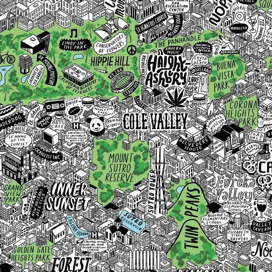 Cole Valley San Francisco Map Hand Drawn Map Illustrated Map