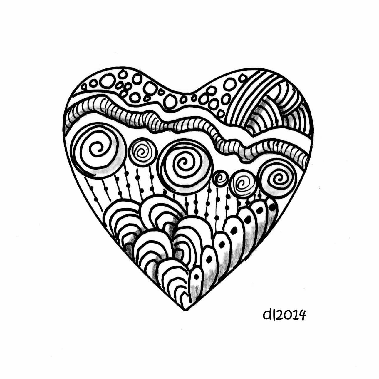 Simple Zentangle Heart With Images Heart Doodle Doodle Art