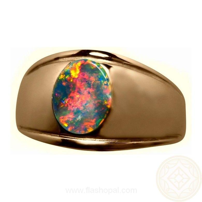 Mens Black Opal Ring 14k Gold Black opal ring Black opal and Opal