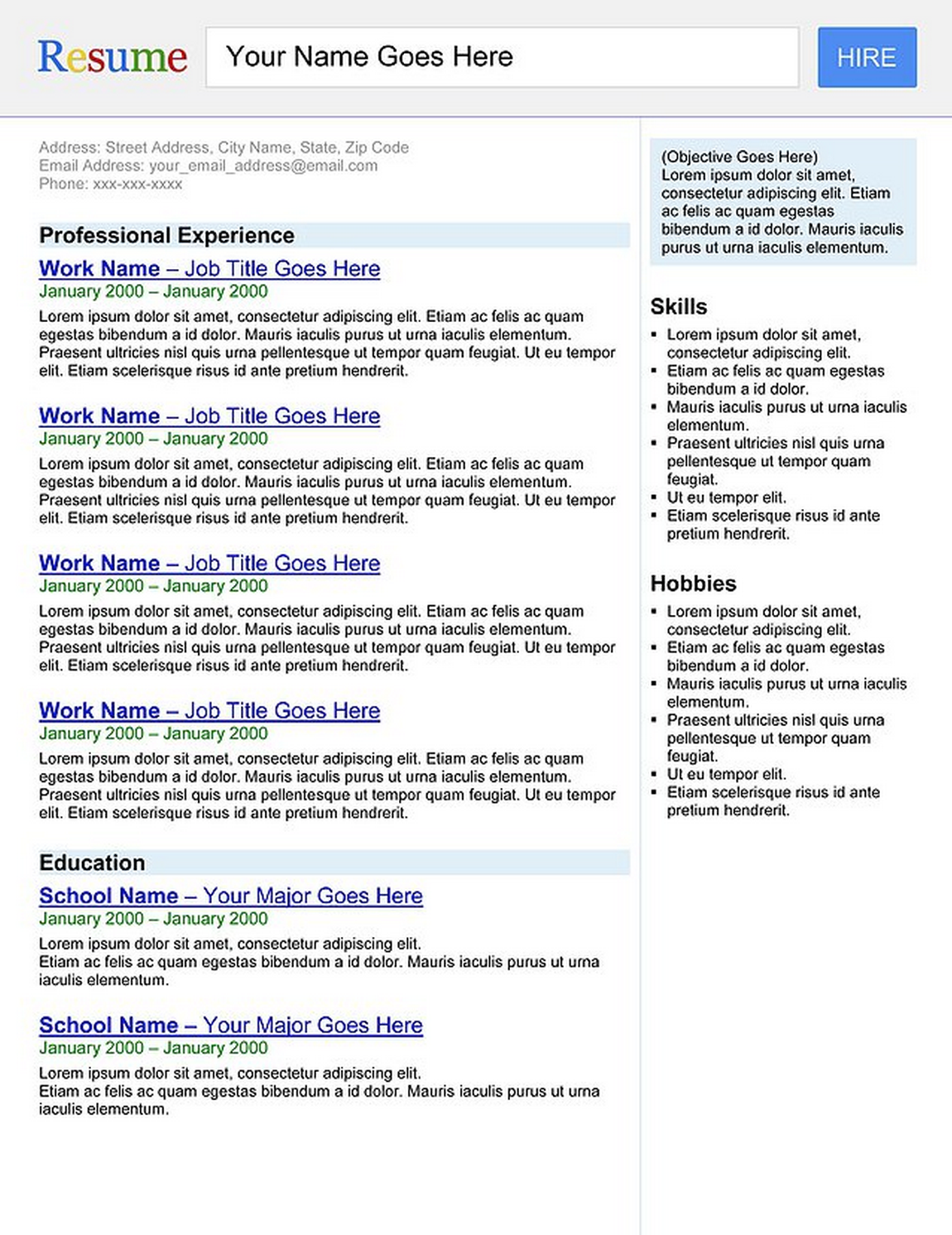 "search engine"" resume template 