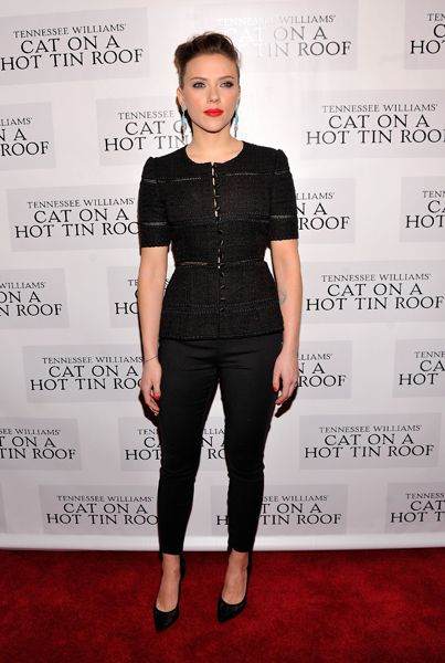 Scarlett Johansson wearing a Dolce & Gabbana top at the 'Cat On A Hot Tin Roof' Broadway opening night after party