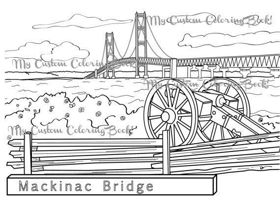 Download Mackinac Bridge Coloring Page   Mackinac bridge, Upper ...