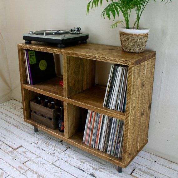 Reclaimed Wood Vinyl Unit Dj Turntable Stand Sideboard Shelving Scaffold Legs With Images Vinyl Record
