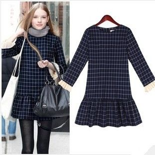 New fall wild plaid low-waist round collar pleated skirt Slim thin long-sleeved dress female