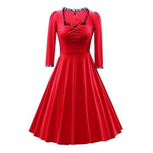 British fashion Bug Womens Vintage 3/4 Sleeve Retro Dresses 1950s ...