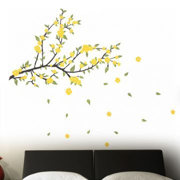 Decal Dzine Spread Love Yellow Flowers Wall Sticker Interior - Yellow flower wall decals