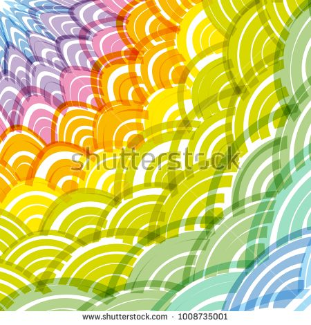 Abstract round wreath composition rainbow frame simple nature background with asian wave circle pattern green yellow orange pink purple blue colors also rh pinterest
