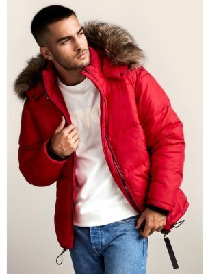 dirt cheap best supplier get new River Island Red faux fur trim hooded puffer coat | Was soll ich ...