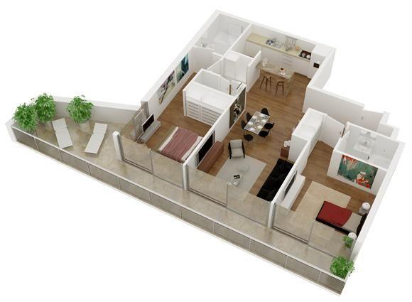 Plano de departamento de 2 habitaciones en 3d planos for Departamentos en planos