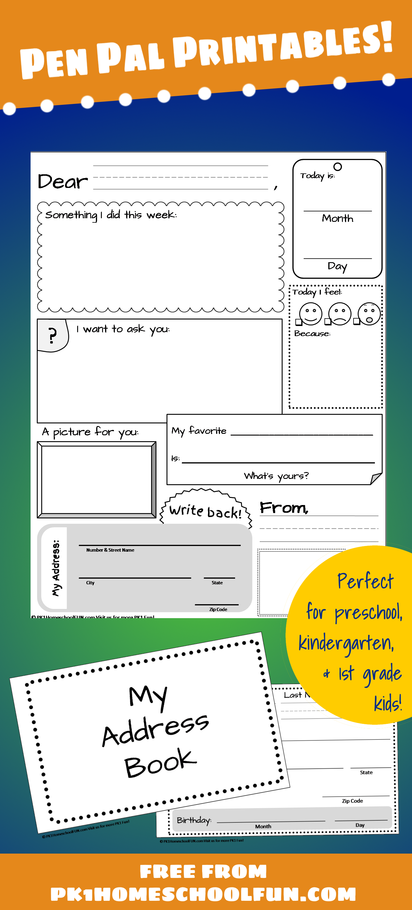 Pen Pal Printables For Pk1kids