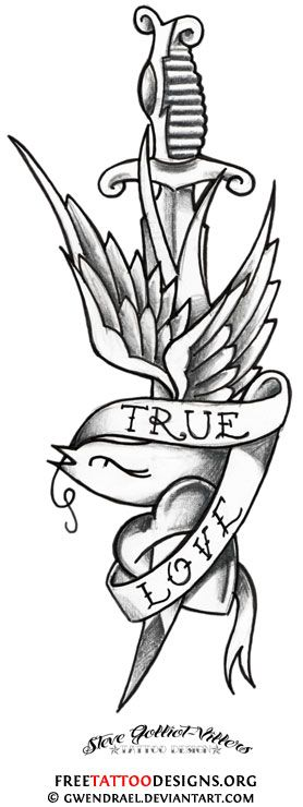 Dagger Tattoo Outline: Traditional Swallow And Dagger Tattoo Design
