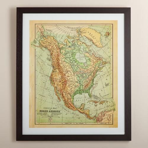 Vintagestyle North America Map Antique Shops Vintage And: North America Map Wall Art At Usa Maps