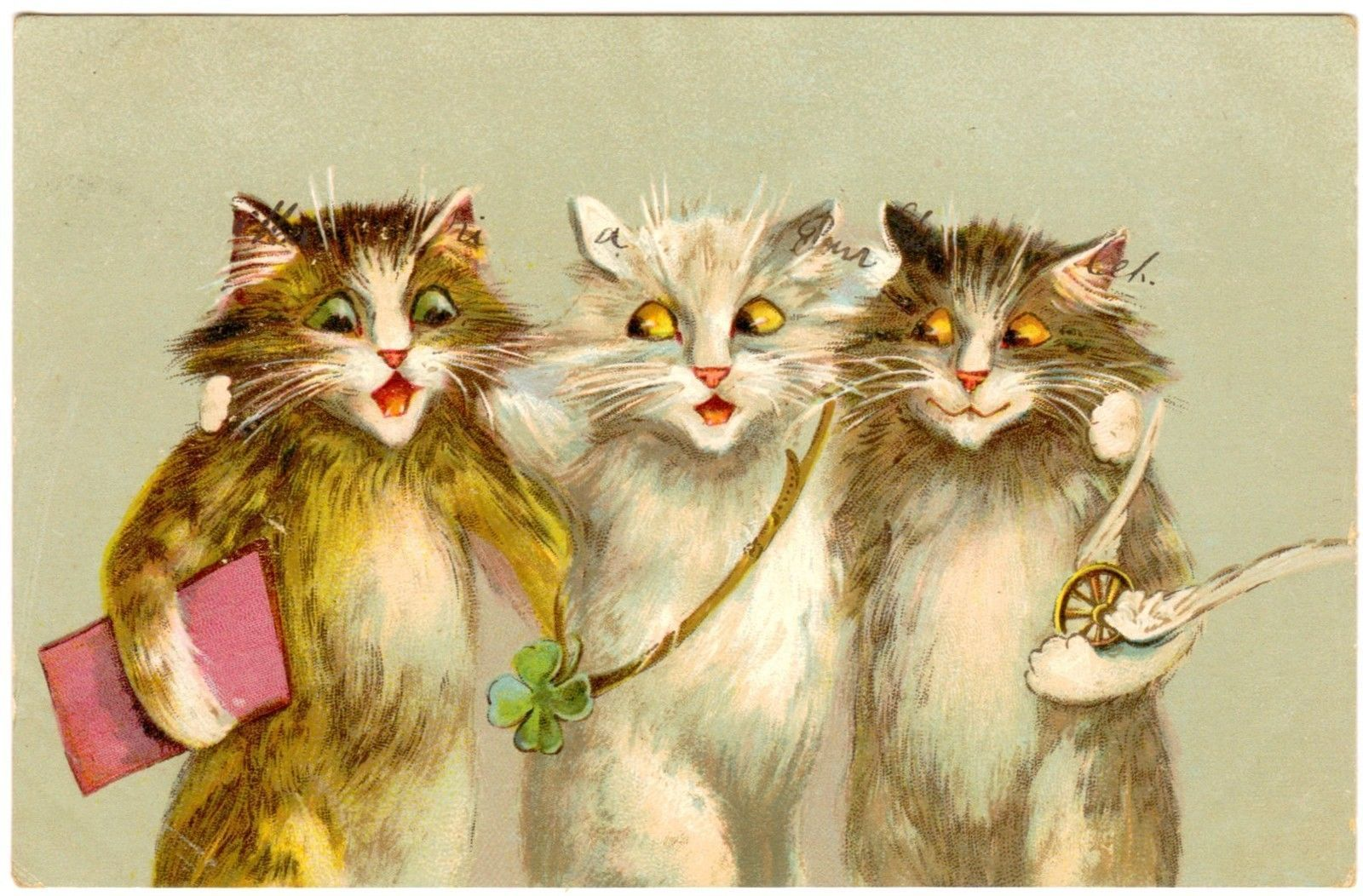 Postcard French Cats Trio Four Leaf Clover Unsigned Maurice Boulanger French Cats Cats Illustration Cat Art