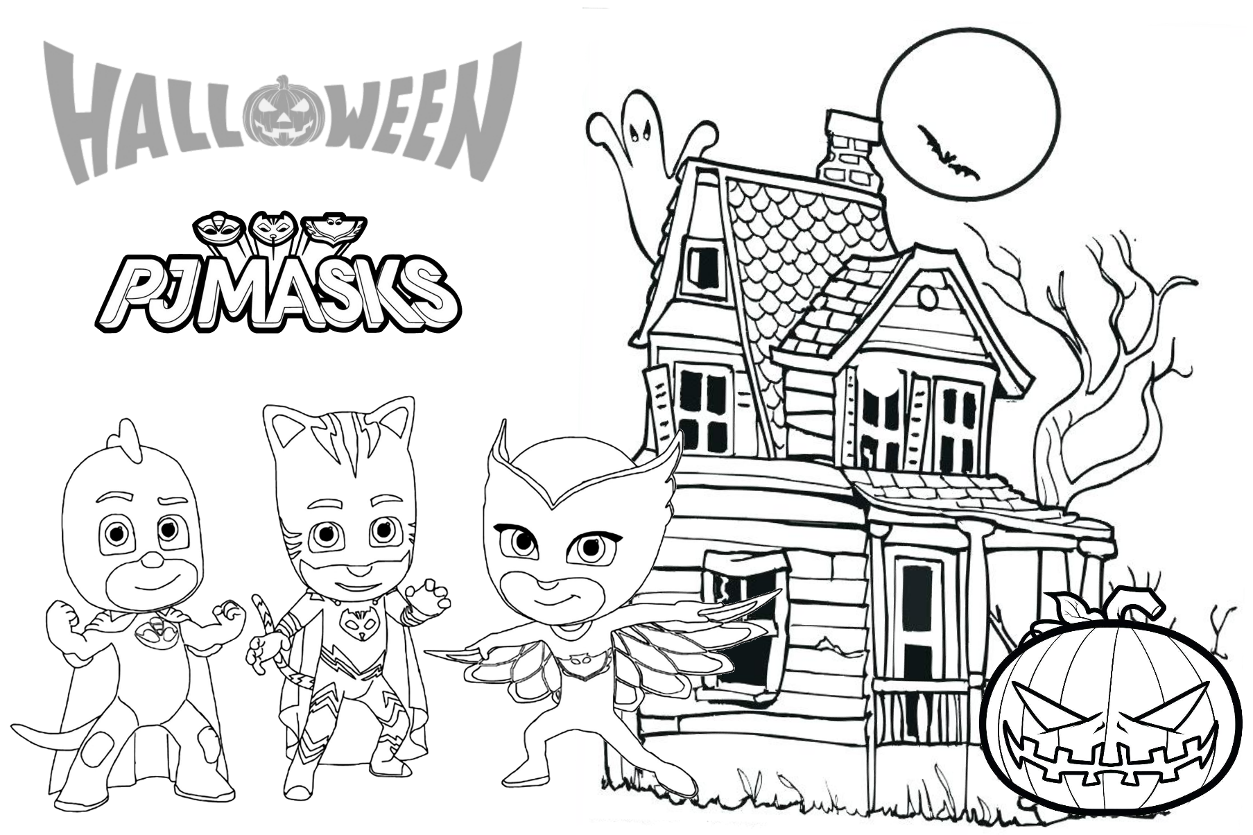 Pj Masks Costume For Halloween Coloring Page And Printable