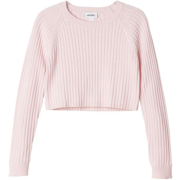 Monki Bo knitted top (10.975 CLP) ❤ liked on Polyvore featuring tops, sweaters, shirts, jumpers, cool raspberry souffle, pink sweater, pink crop top, shirt sweater, cropped jumper and crop top