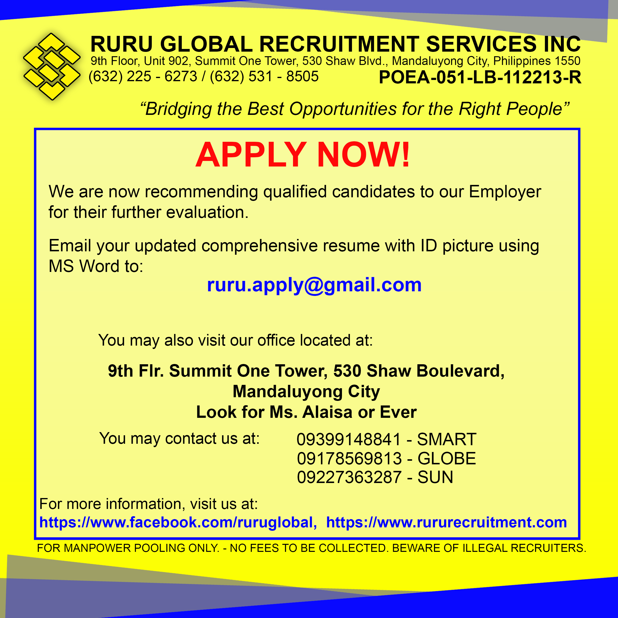 Ruru Global Recruitment Apply Now We Are Now Recommending Qualified Candidates To Our Employer For Their Further Evaluati Job Posting How To Apply Recruitment