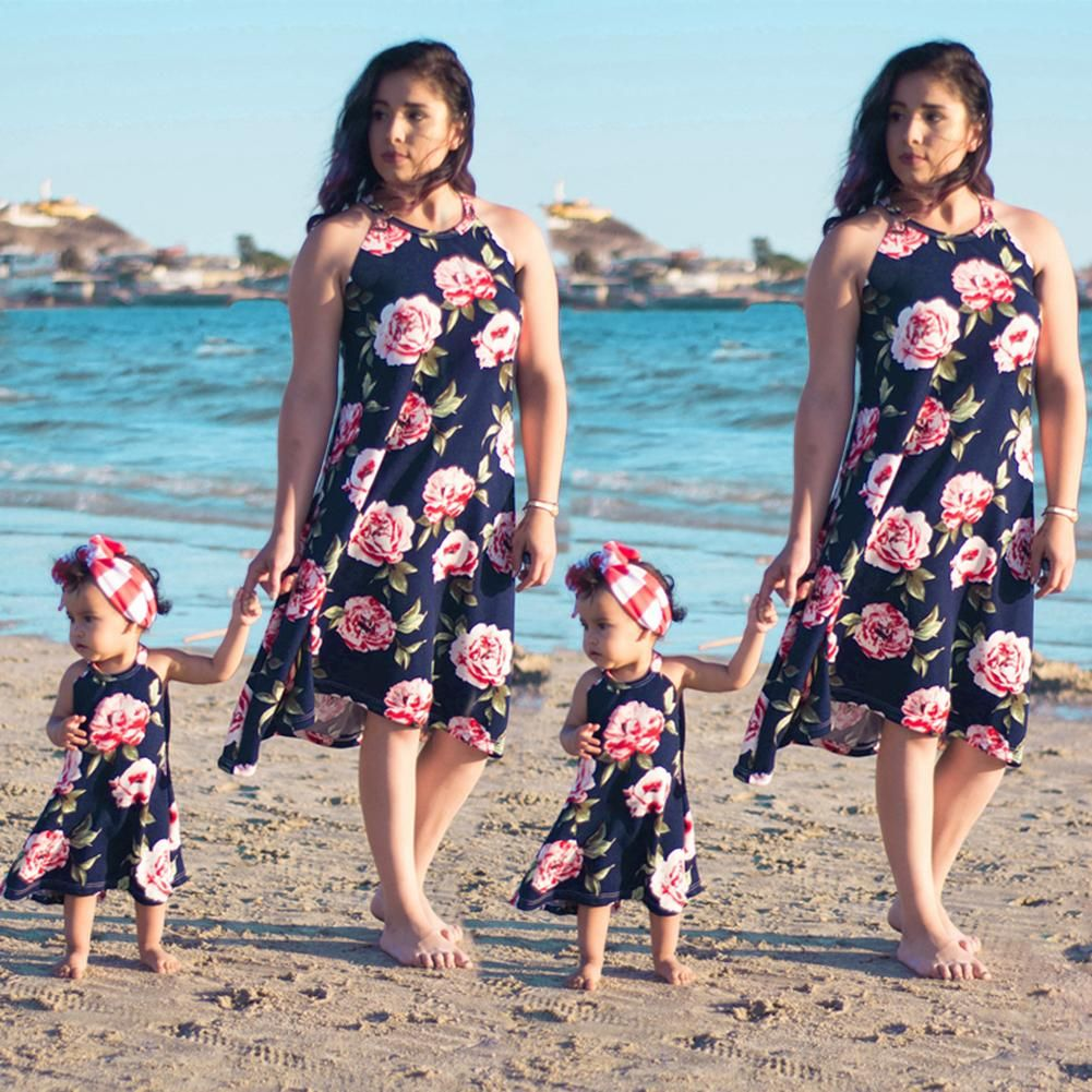 fae698400b Summer Matching Outfits Mother Daughter Sleeveless Floral Printed Dresses  Parent Child Outfits