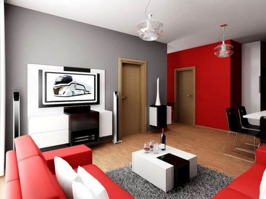 Red and Grey Home Ideas Living Room Design  Ideas Pinterest