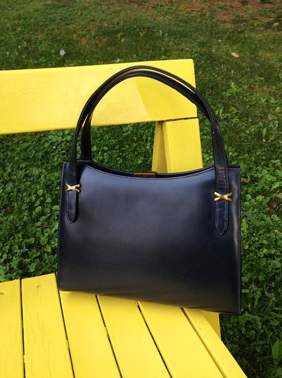 Blue Leather Handbag Navy Handbags Vintage Dofan Made In France