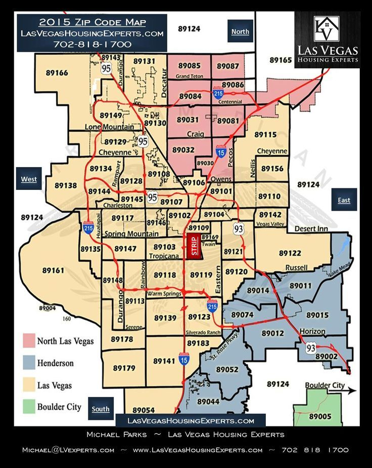 Map of Las Vegas and surrounding city. Zip codes and