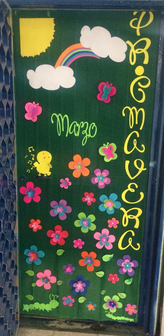 Puerta decorada primavera ideas para el aula pinterest for Puertas escolares decoradas