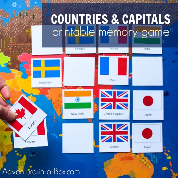 graphic relating to Printable Memory Games for Adults named Nations around the world Capitals of the Earth: Memory Matching Video game